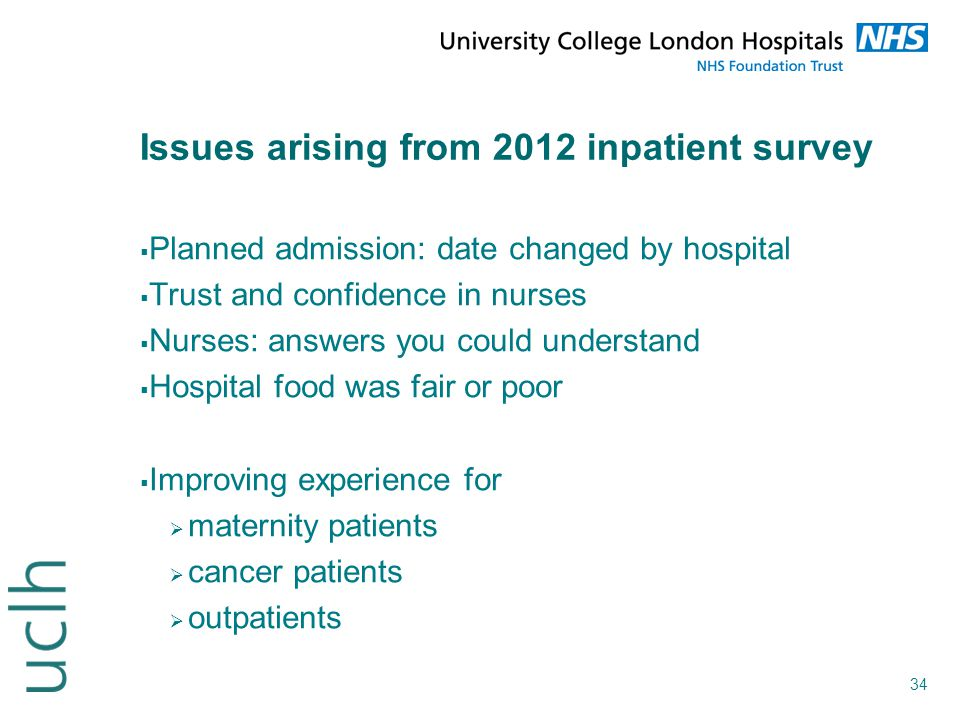 Issues arising from 2012 inpatient survey