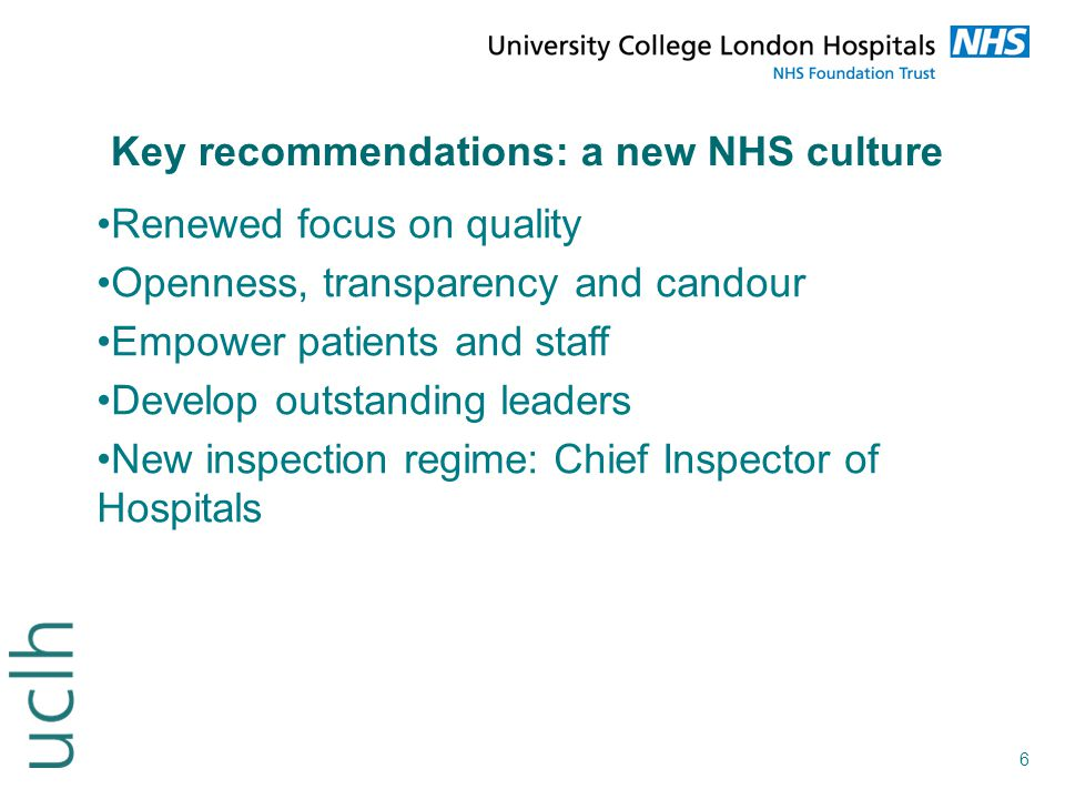 Key recommendations: a new NHS culture