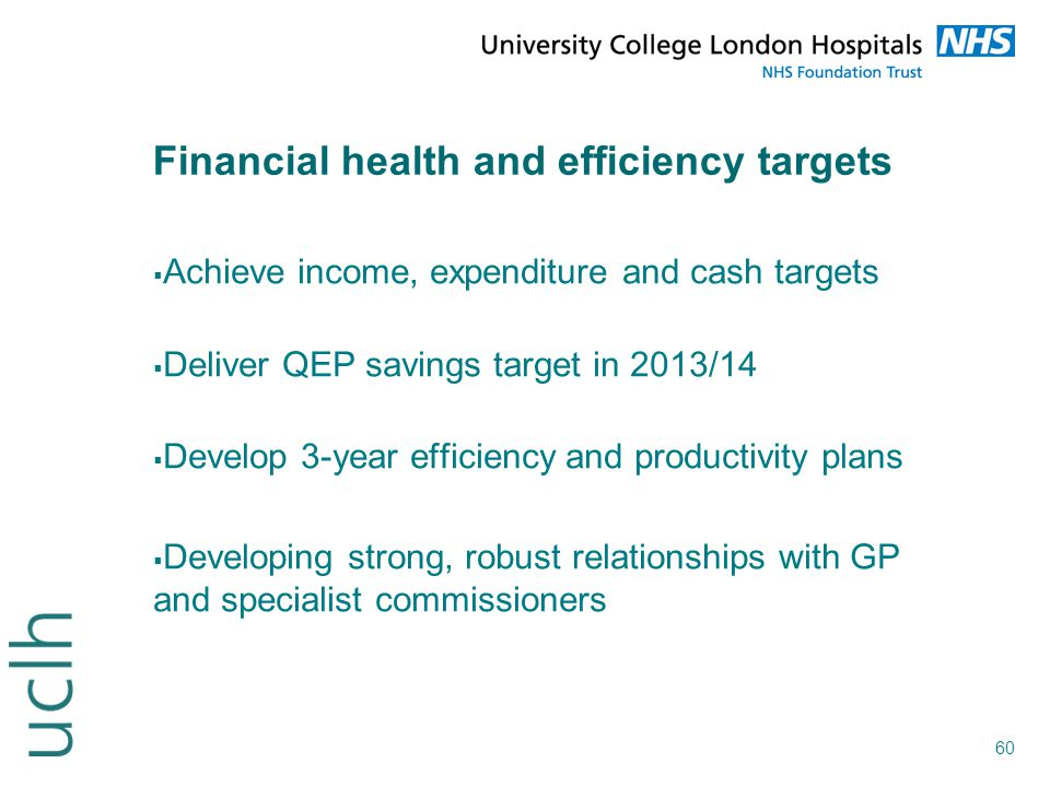 Financial health and efficiency targets