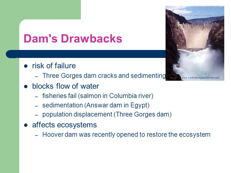 Dam s Drawbacks risk of failure blocks flow of water