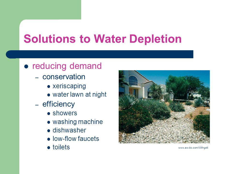 Solutions to Water Depletion