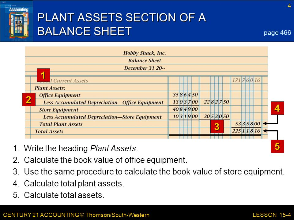 PLANT ASSETS SECTION OF A BALANCE SHEET