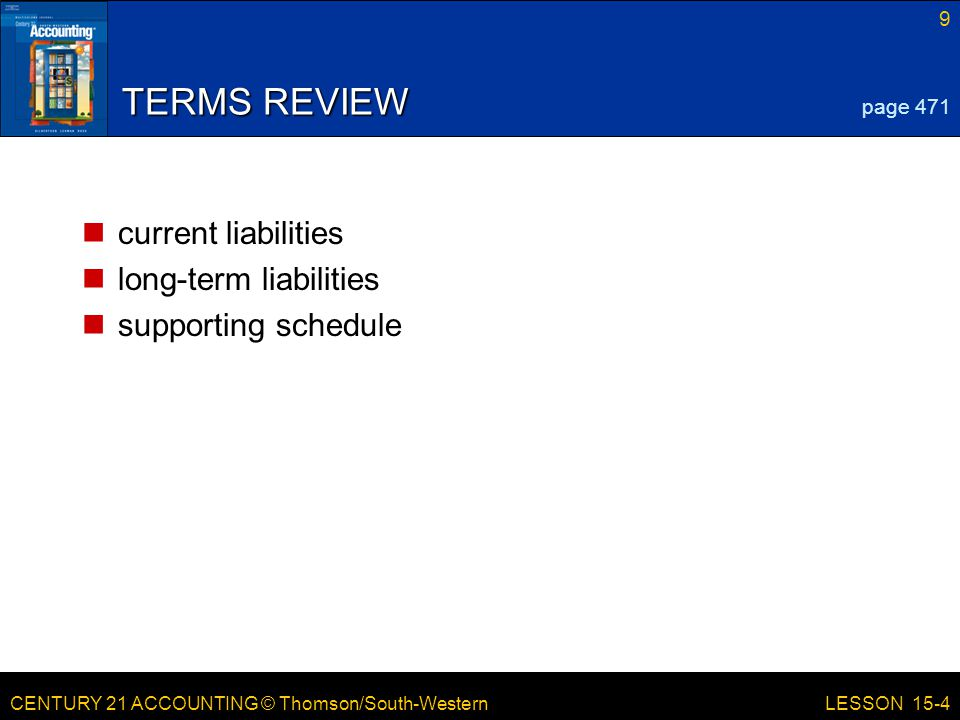 TERMS REVIEW current liabilities long-term liabilities
