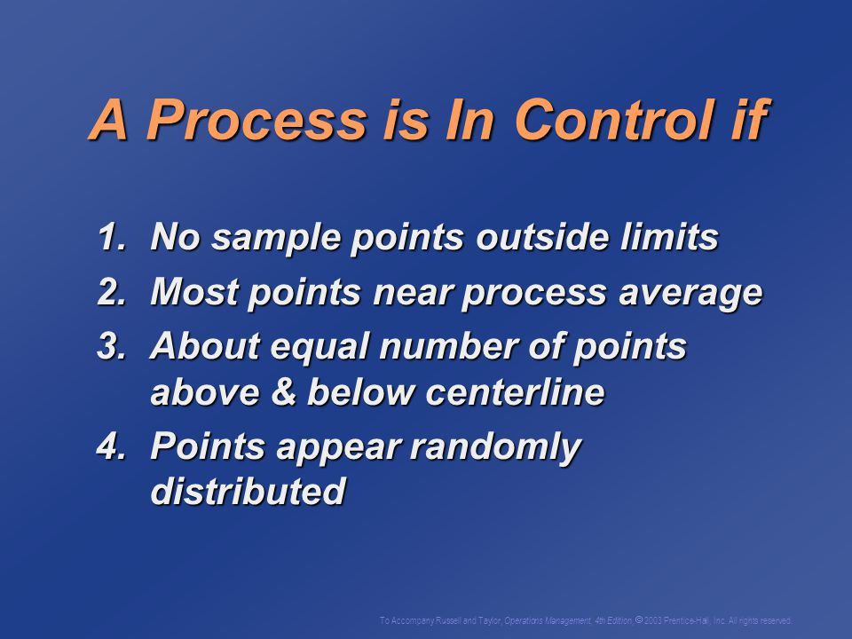 A Process is In Control if