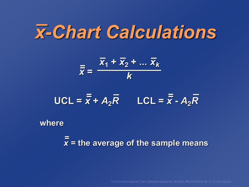 x-Chart Calculations x1 + x2 + ... xk = k x = =