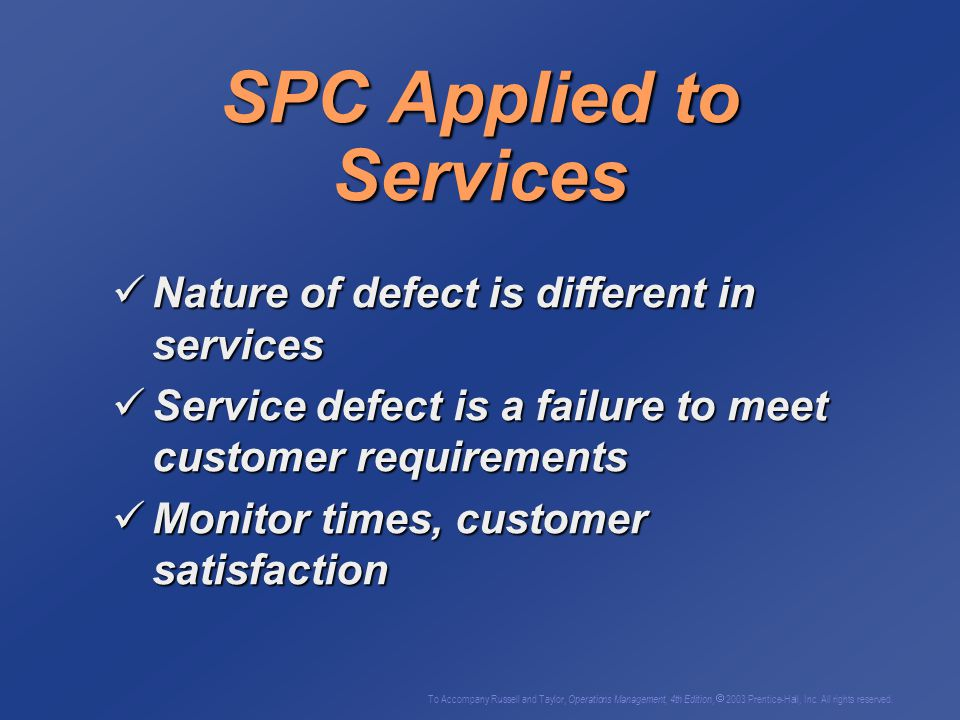 SPC Applied to Services