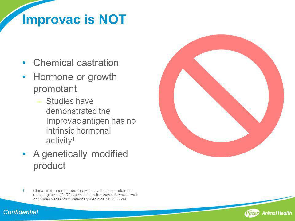 Improvac is NOT Chemical castration Hormone or growth promotant
