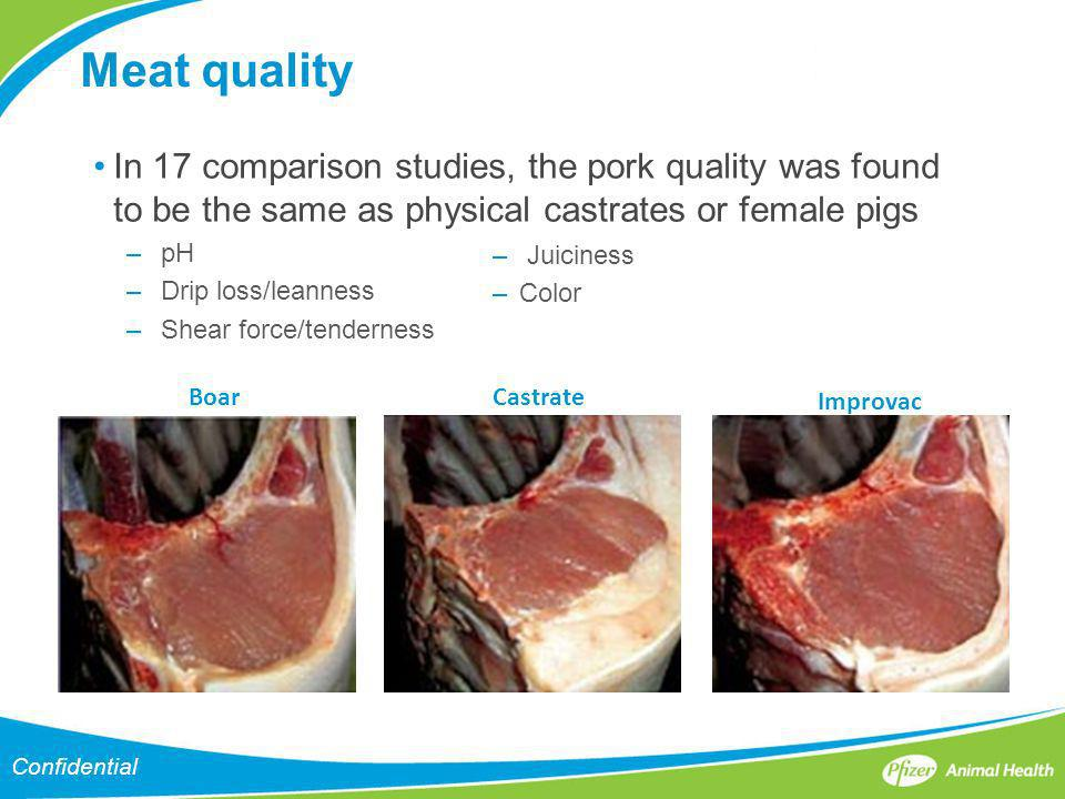 Meat quality In 17 comparison studies, the pork quality was found to be the same as physical castrates or female pigs.