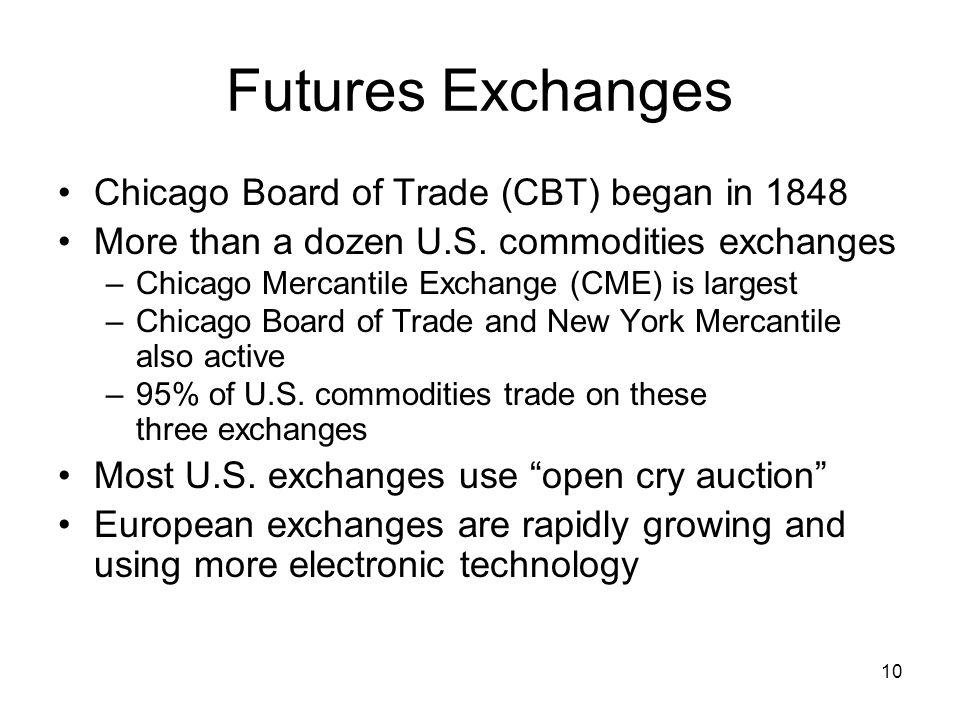 Futures Exchanges Chicago Board of Trade (CBT) began in 1848