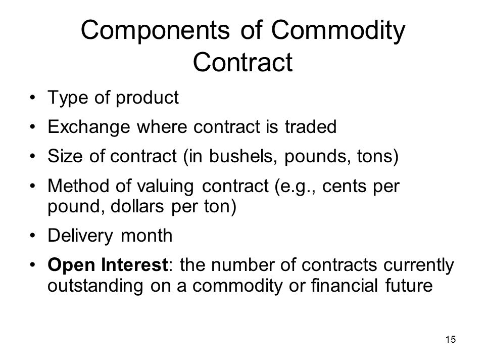 Components of Commodity Contract