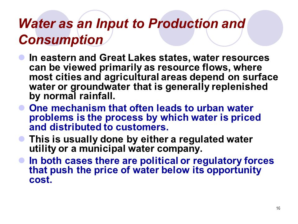 Water as an Input to Production and Consumption