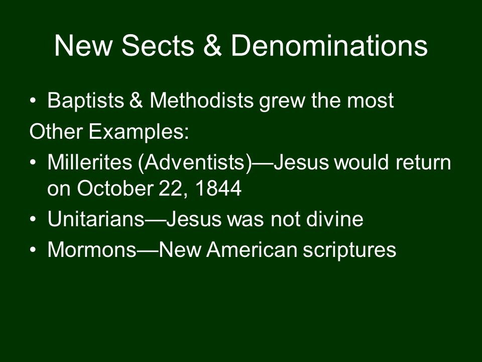 New Sects & Denominations