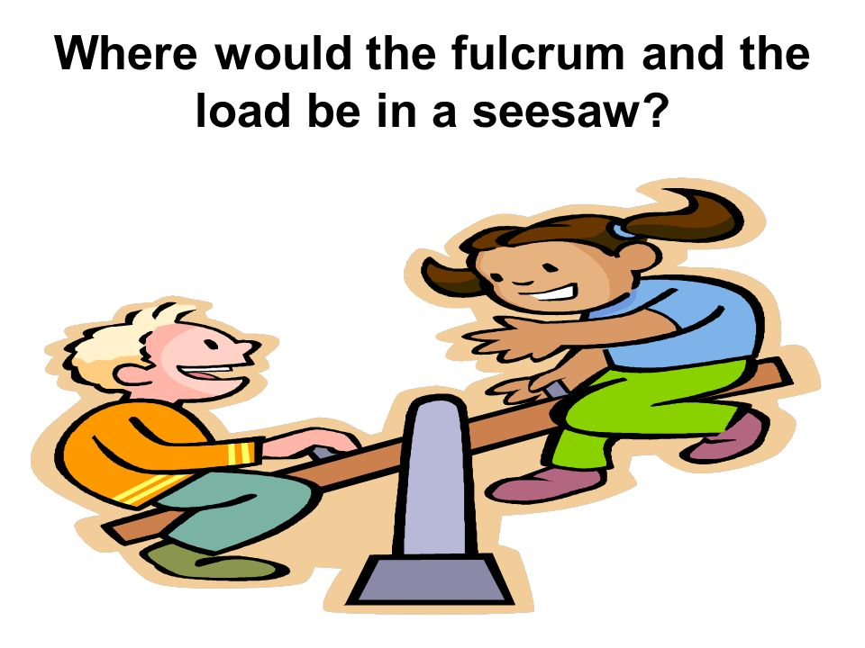 Where would the fulcrum and the load be in a seesaw