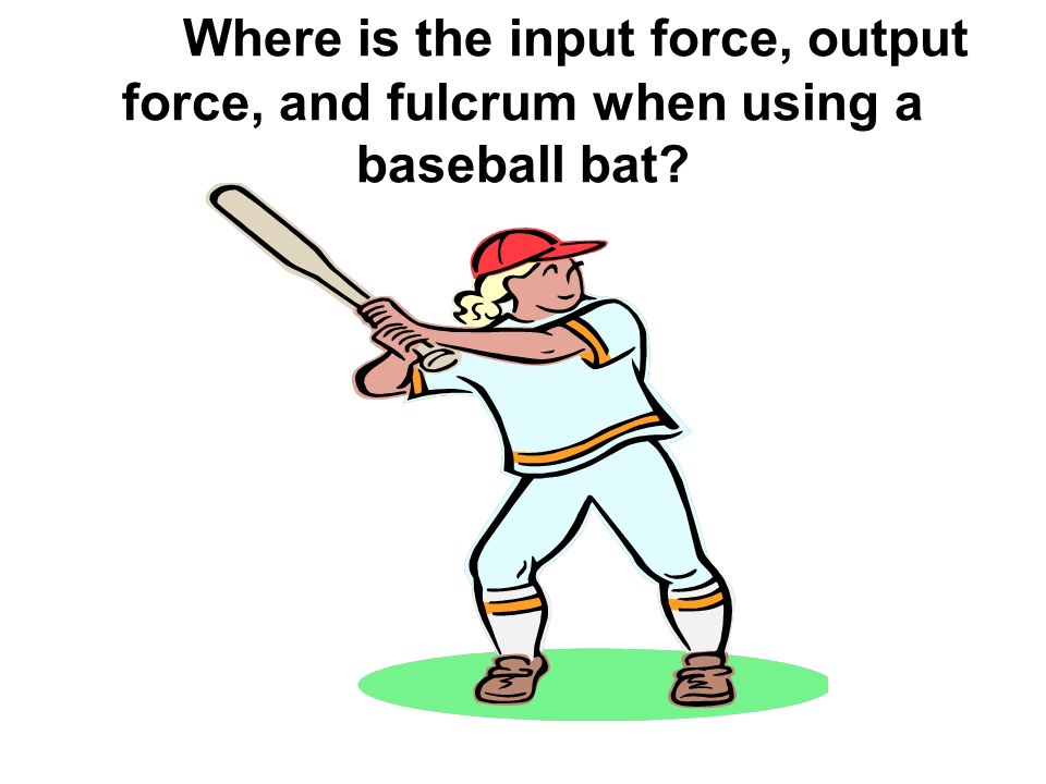 Where is the input force, output force, and fulcrum when using a baseball bat