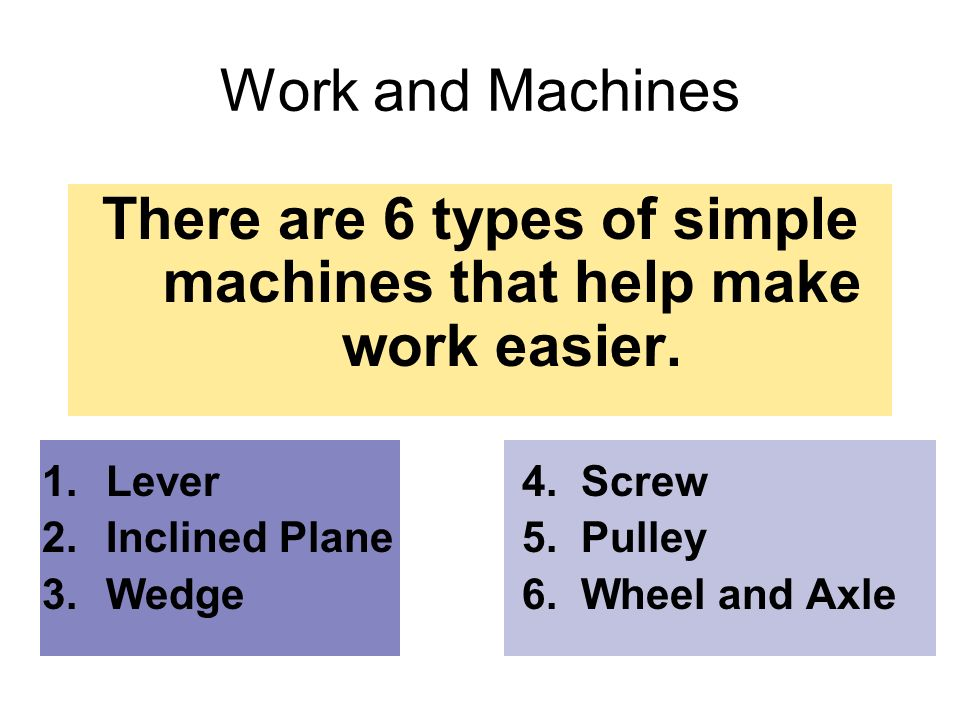 There are 6 types of simple machines that help make work easier.
