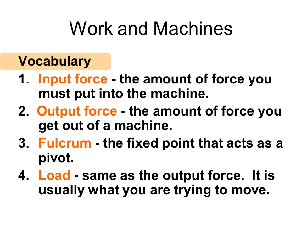 Work and Machines Vocabulary
