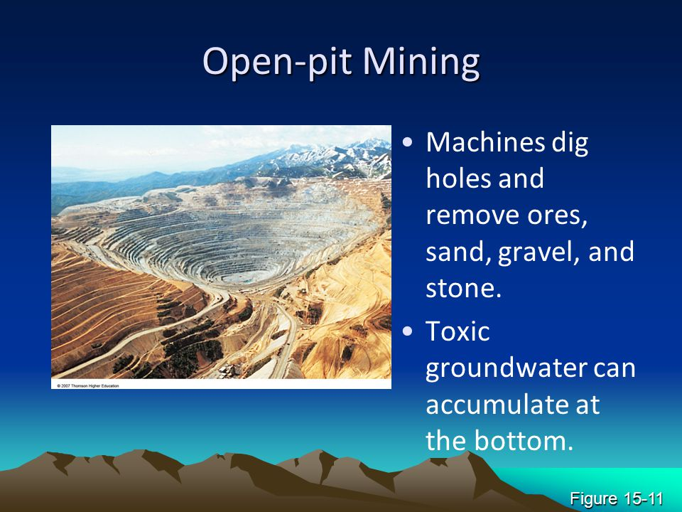 Open-pit Mining Machines dig holes and remove ores, sand, gravel, and stone. Toxic groundwater can accumulate at the bottom.