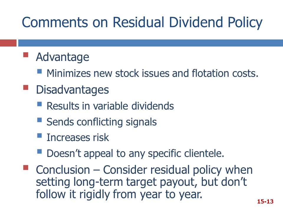 Comments on Residual Dividend Policy