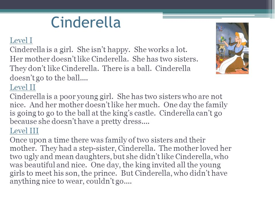 Cinderella Level I. Cinderella is a girl. She isn't happy. She works a lot. Her mother doesn't like Cinderella. She has two sisters.
