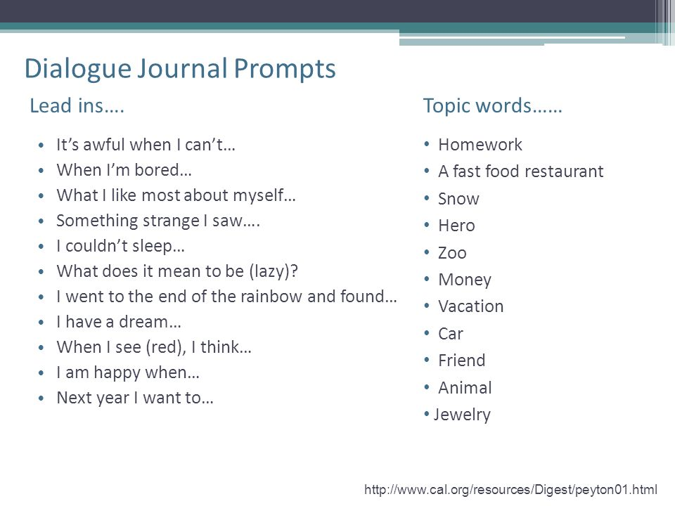 Dialogue Journal Prompts