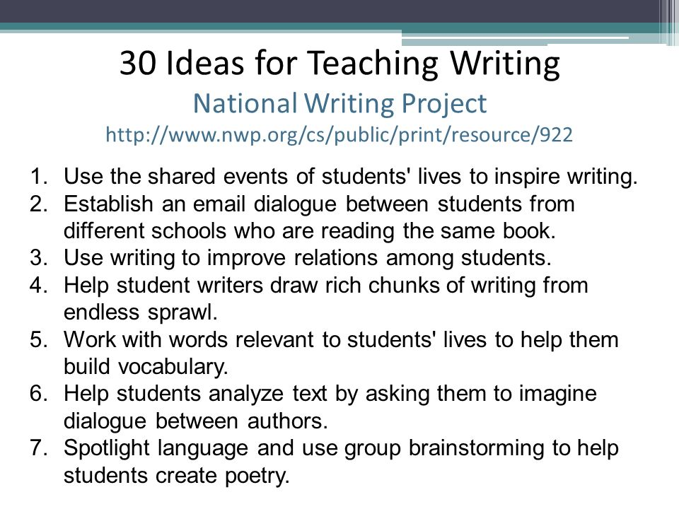 30 Ideas for Teaching Writing National Writing Project http://www. nwp