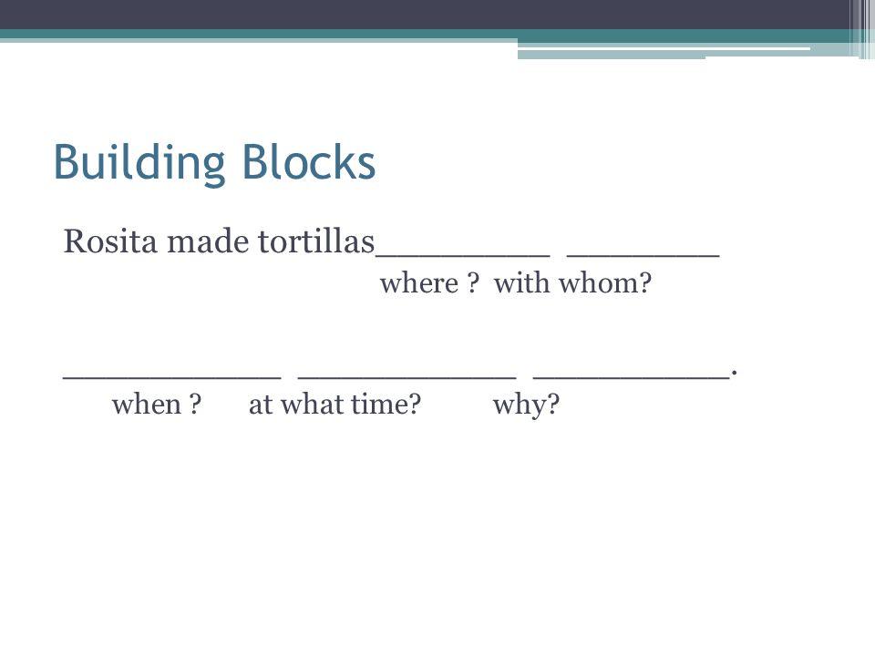 Building Blocks Rosita made tortillas________ _______