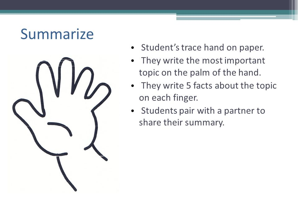 Summarize Student's trace hand on paper.