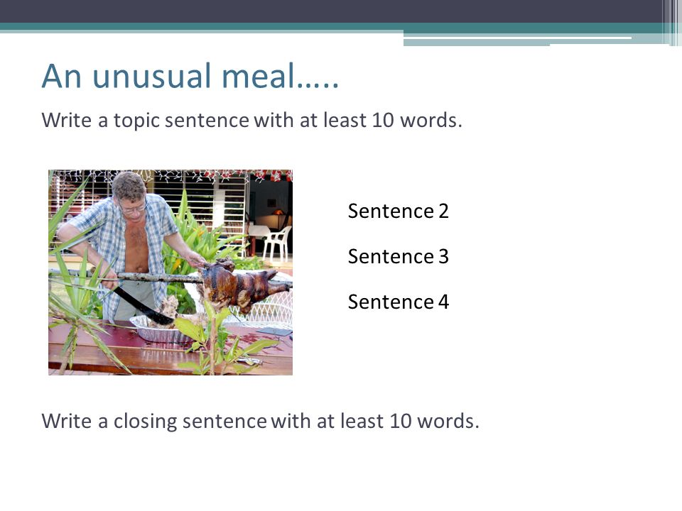 An unusual meal….. Write a topic sentence with at least 10 words.