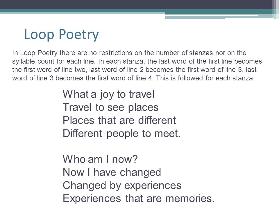 Loop Poetry What a joy to travel Travel to see places