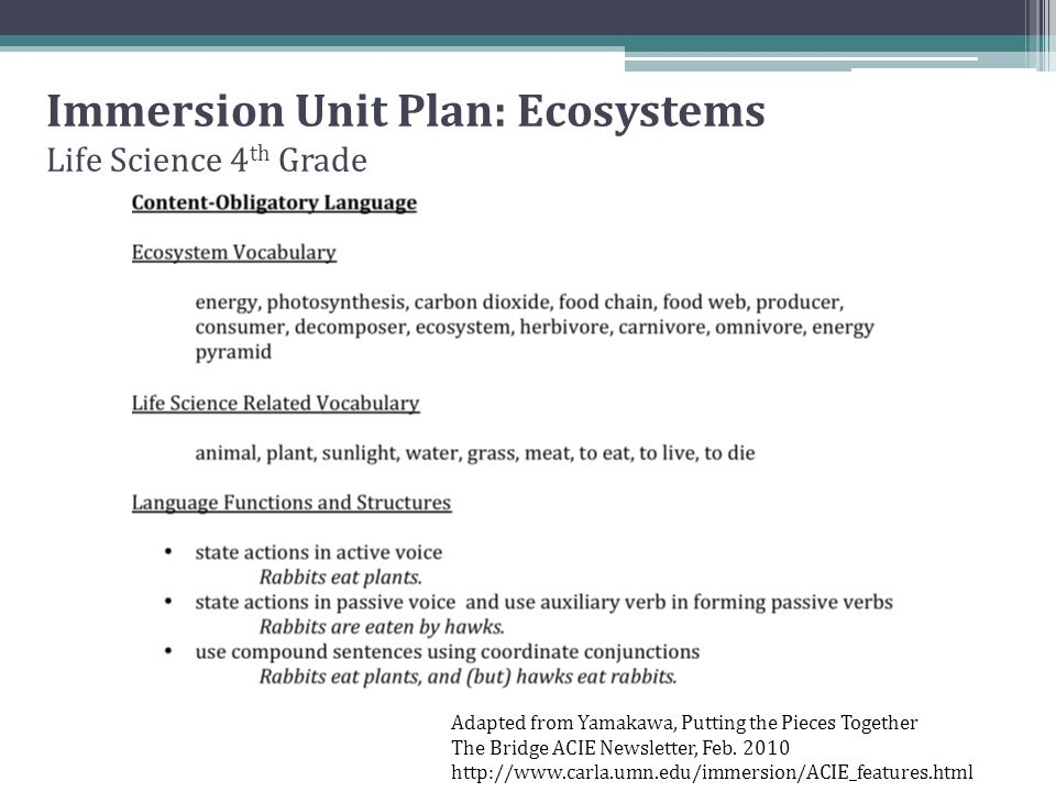Immersion Unit Plan: Ecosystems Life Science 4th Grade