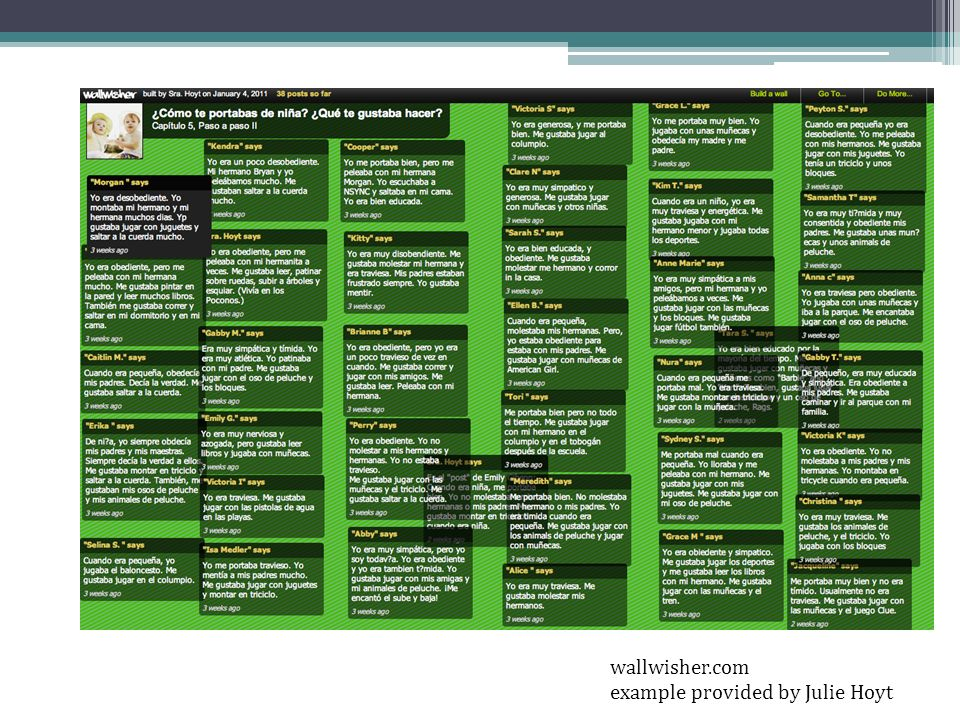 wallwisher.com example provided by Julie Hoyt