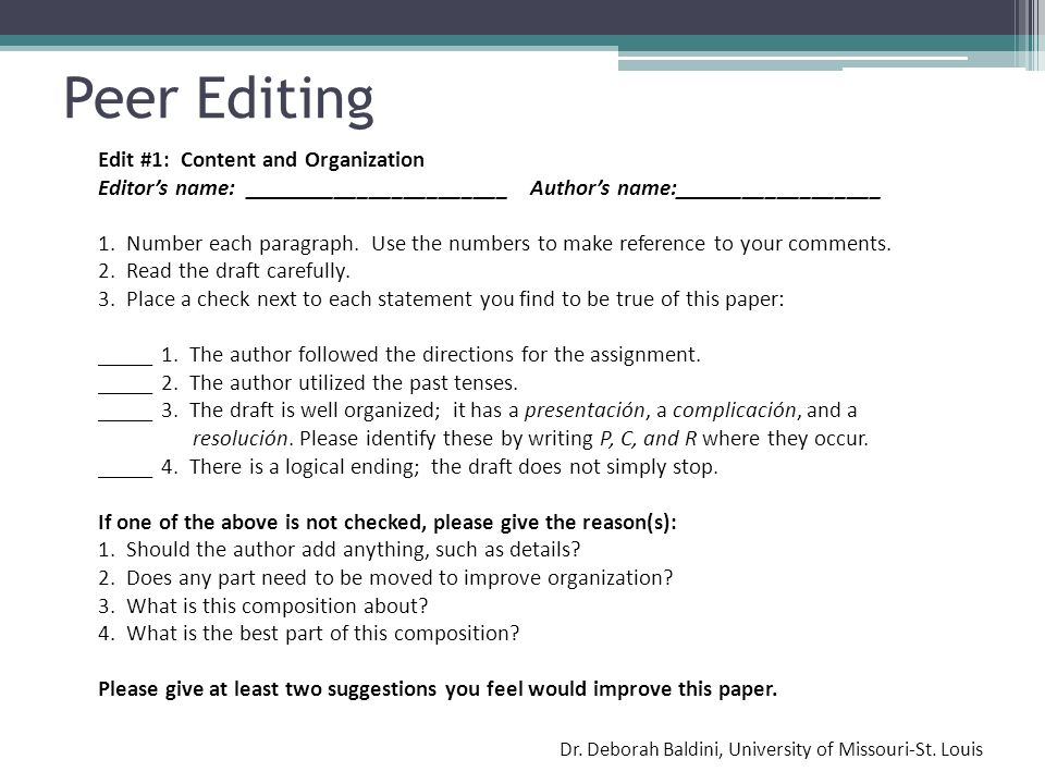 Peer Editing Edit #1: Content and Organization