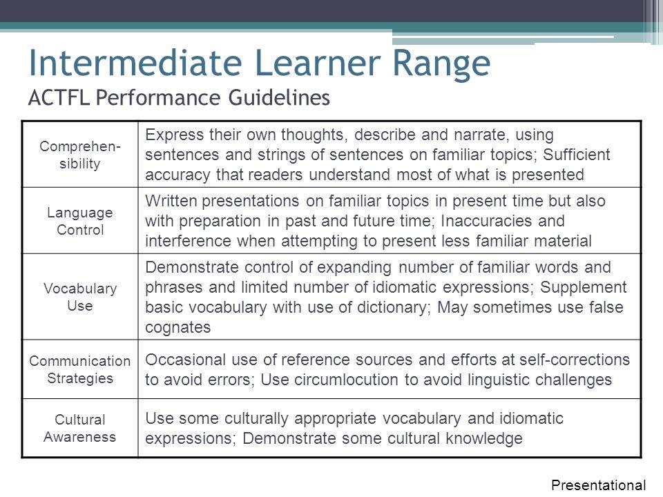Intermediate Learner Range ACTFL Performance Guidelines