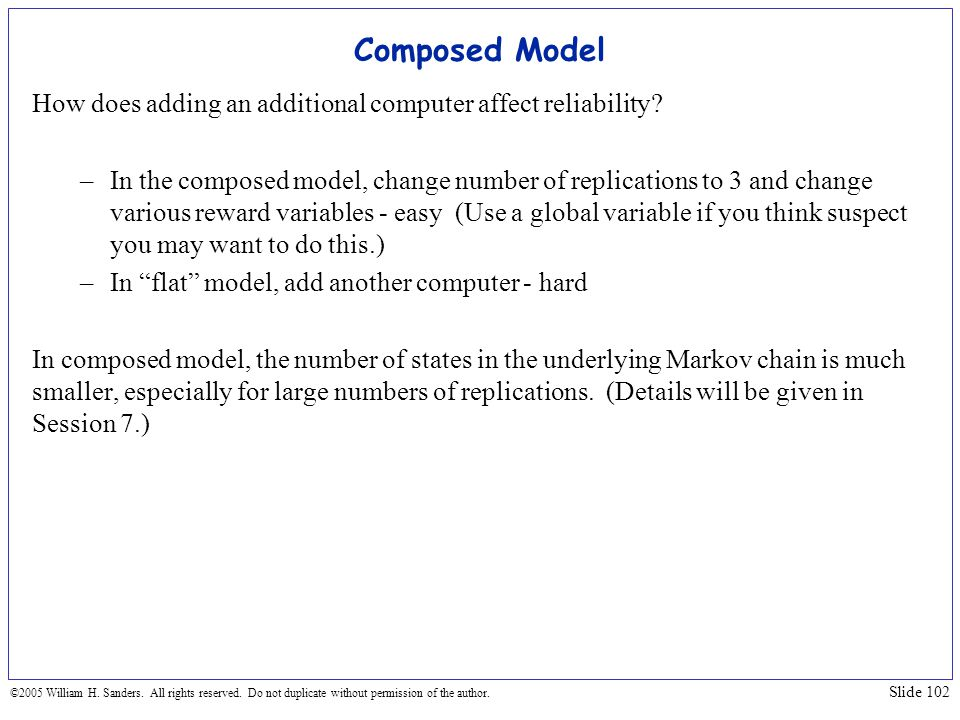Composed Model How does adding an additional computer affect reliability