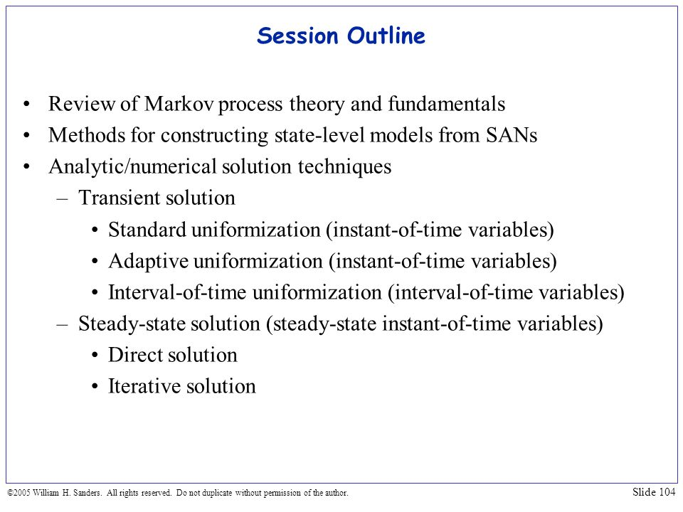 Session Outline Review of Markov process theory and fundamentals