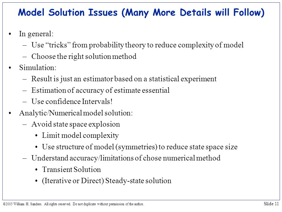 Model Solution Issues (Many More Details will Follow)