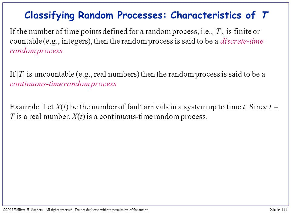 Classifying Random Processes: Characteristics of T