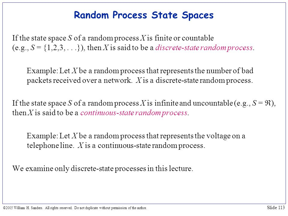 Random Process State Spaces