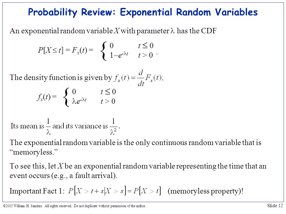 Probability Review: Exponential Random Variables