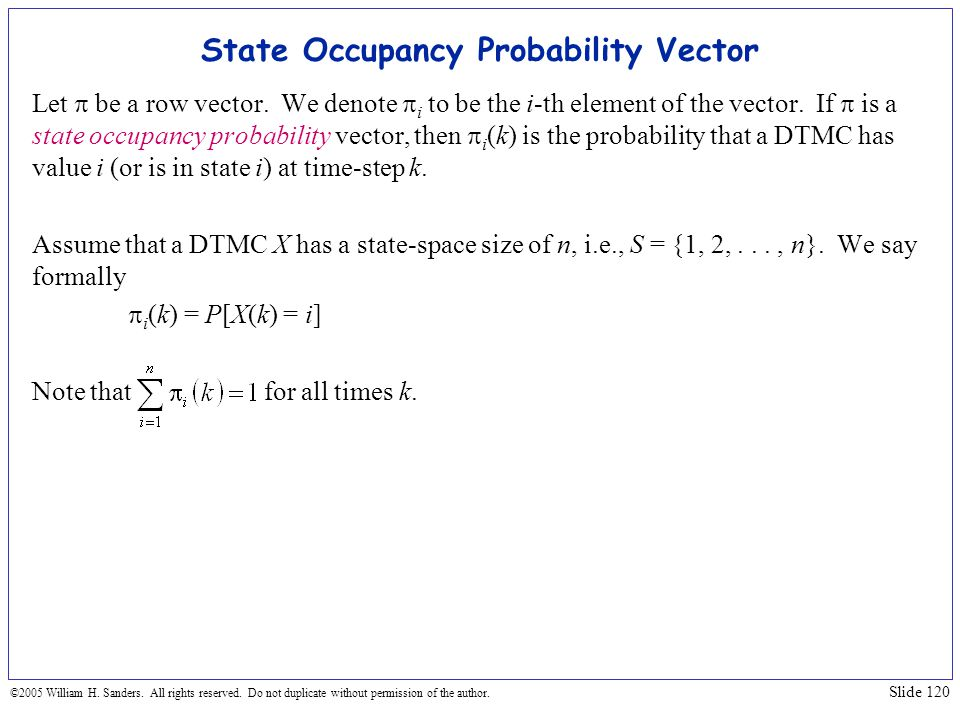 State Occupancy Probability Vector