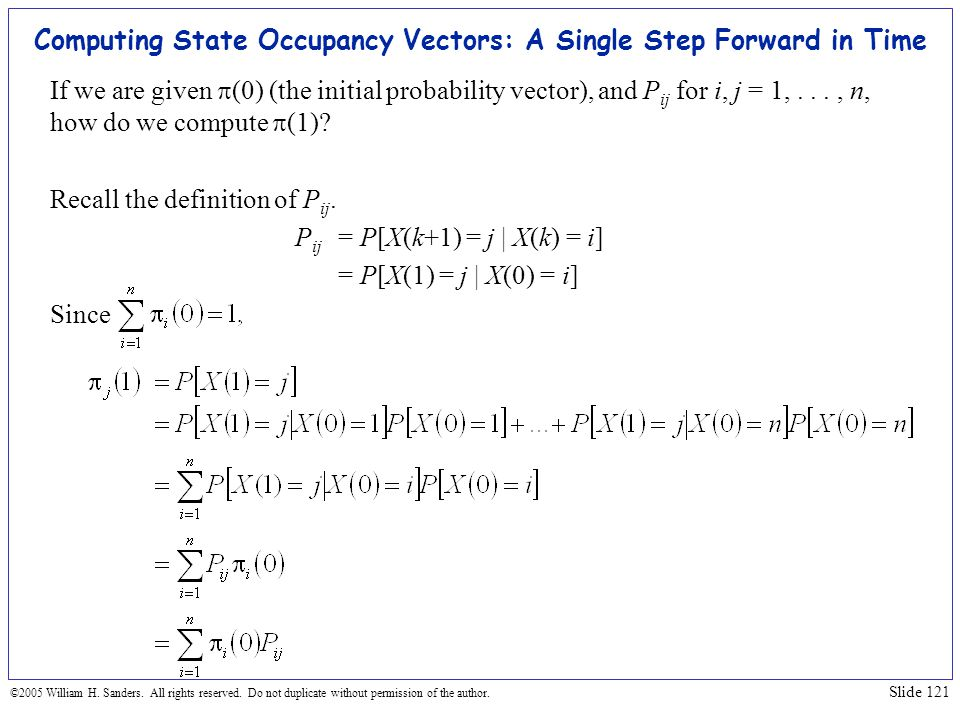 Computing State Occupancy Vectors: A Single Step Forward in Time
