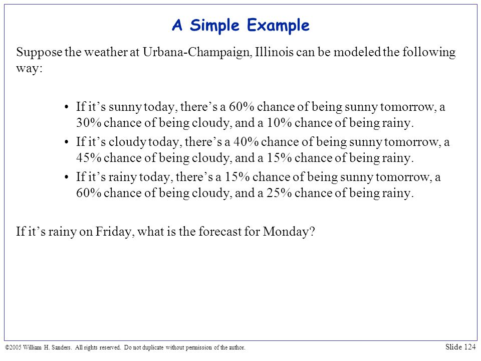 A Simple Example Suppose the weather at Urbana-Champaign, Illinois can be modeled the following way: