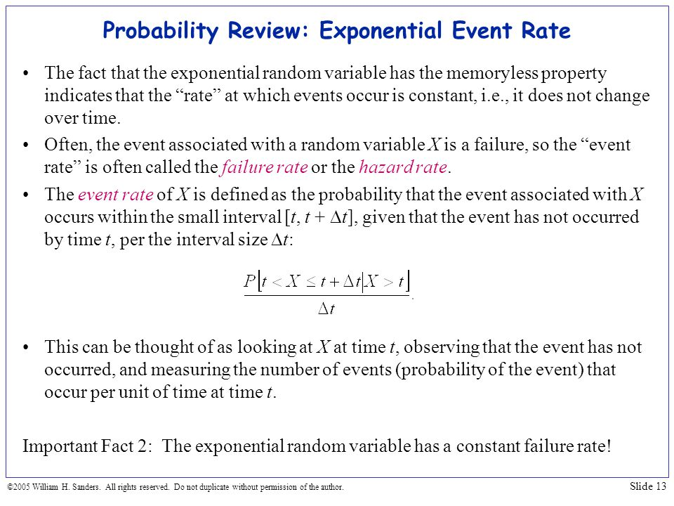 Probability Review: Exponential Event Rate