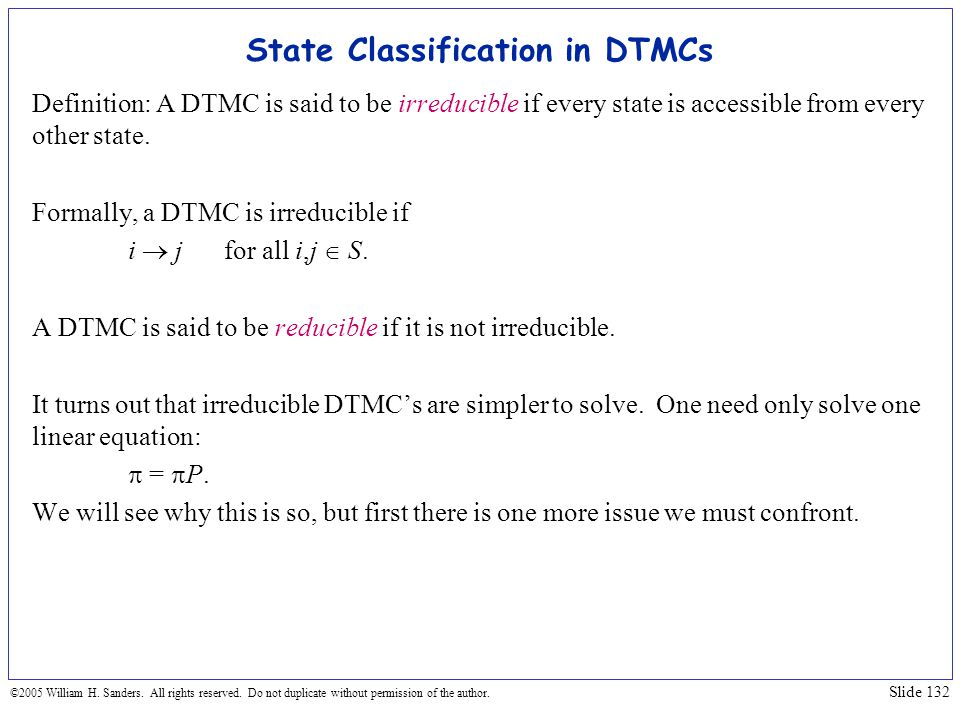 State Classification in DTMCs