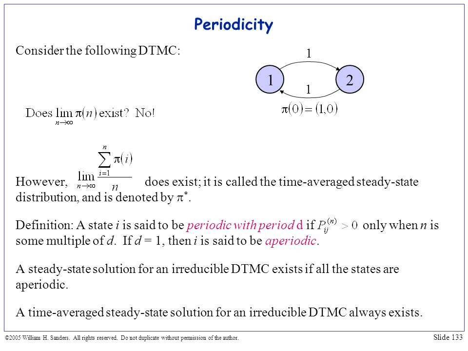 Periodicity 1 2 Consider the following DTMC: 1 1