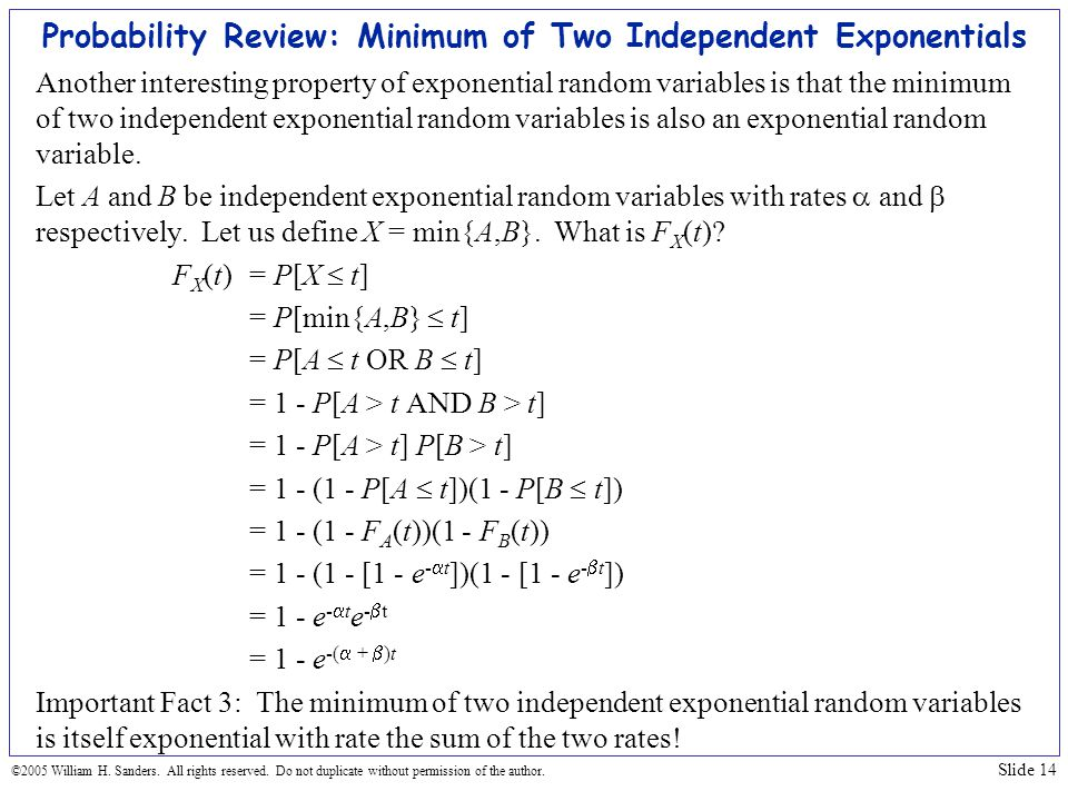 Probability Review: Minimum of Two Independent Exponentials