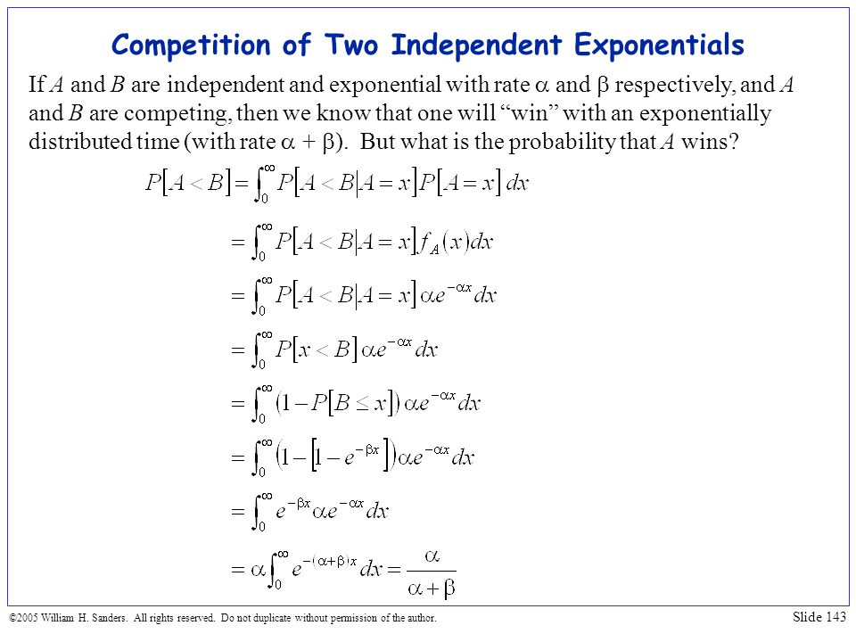 Competition of Two Independent Exponentials