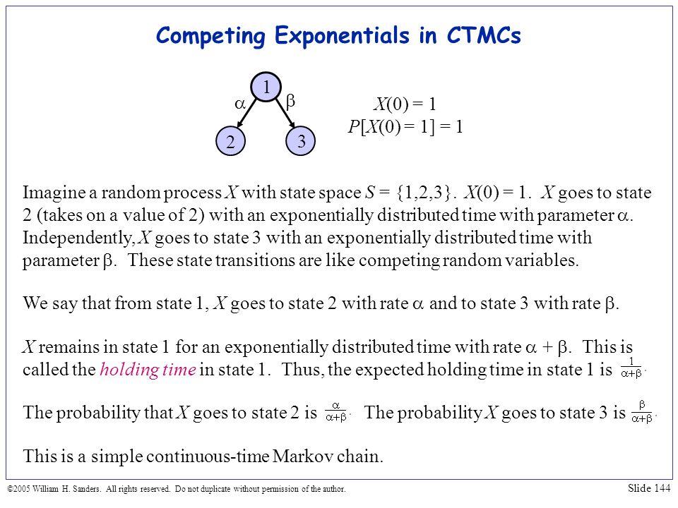Competing Exponentials in CTMCs