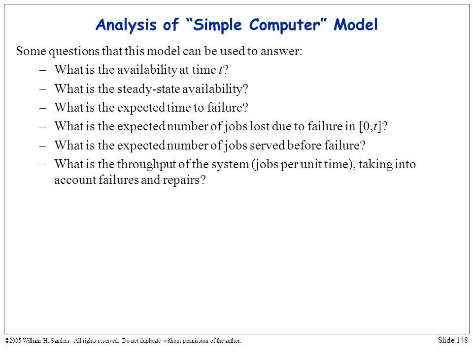 Analysis of Simple Computer Model
