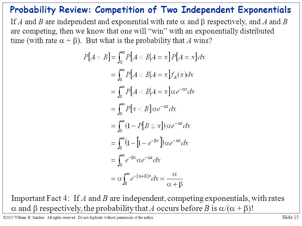 Probability Review: Competition of Two Independent Exponentials
